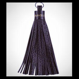 BANDOLIER black leather tassel w/gold